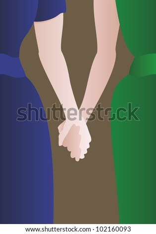 Detail of a well dressed female couple holding hands.