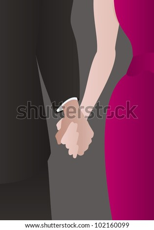 Detail of a well dressed heterosexual couple holding hands