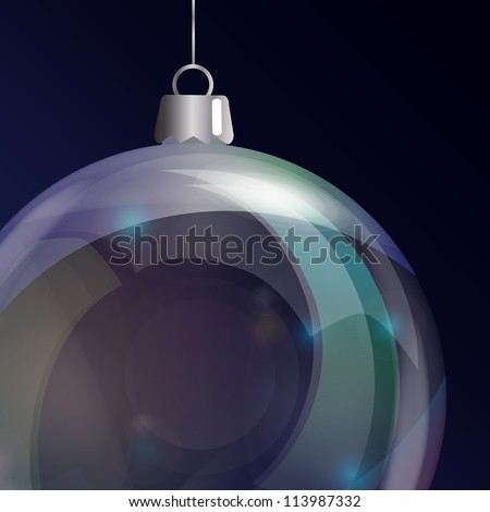 Detail of glass Christmas bauble. EPS10 vector format.