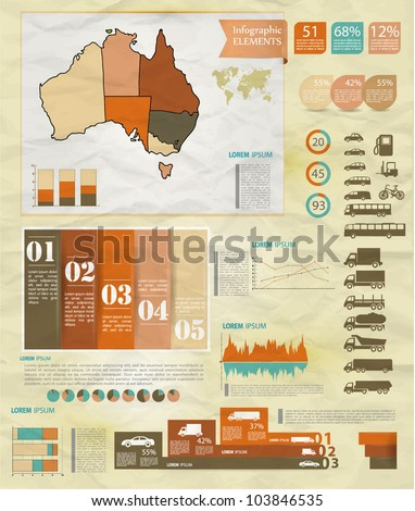 Detail old infographic vector illustration with map of Australia, car icons, infographics and Information Graphics.