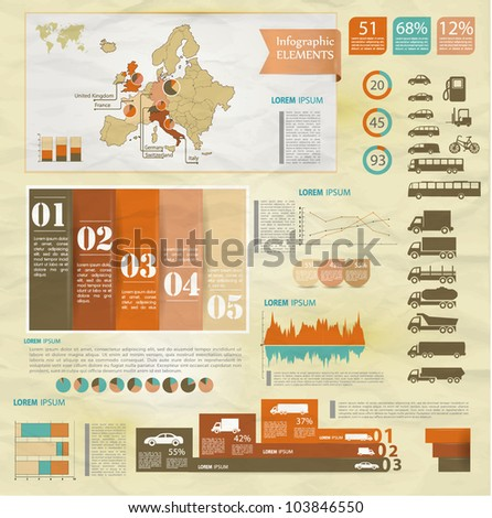 Detail old infographic vector illustration with map of Europe, car icons, infographics and Information Graphics.