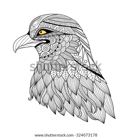 detail zentangle eagle for