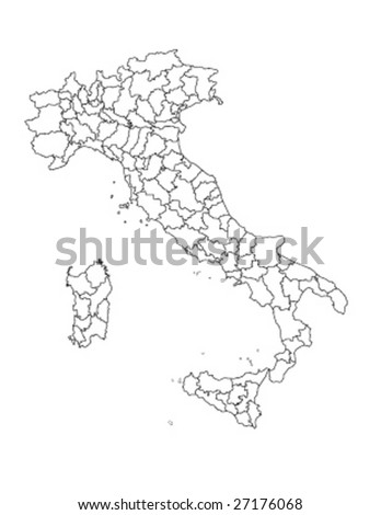 detaile vector Italy map with all regions - stock vector