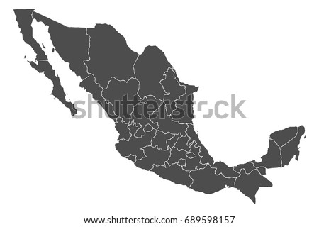 Detailed, accurate map of Mexico in high resolution. Vector illustration. Foto stock ©