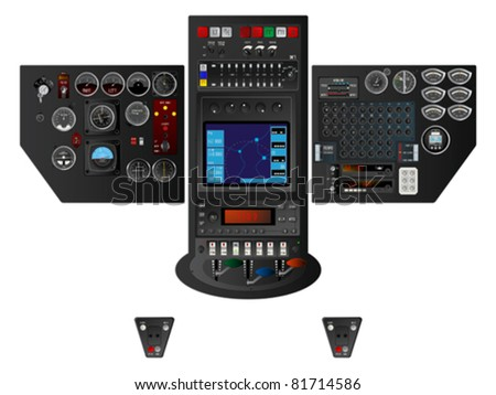Detailed airplane dashboard over white background. Isolated and grouped objects over white. No mesh or transparencies used. Original fonts in layer. - stock vector