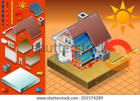 Detailed animation of a Isometric house with conditioner in cold production