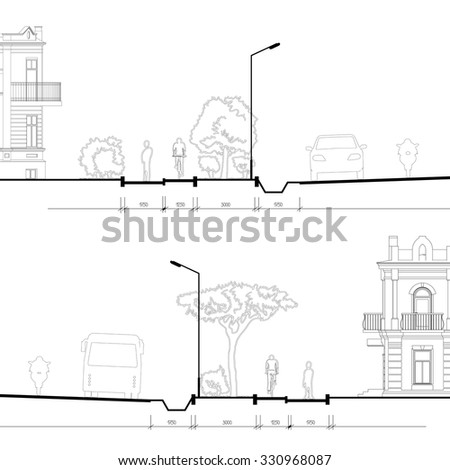 Detailed Architectural Vector Drawing Of Isolated City