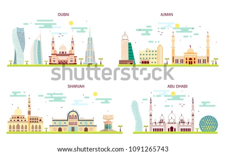 Detailed architecture of Abu Dhabi, Dubai, Sharjah, Ajman. Business cities in United Arab Emirates. Trendy vector illustration, flat style. Handdrawn illustration with main tourist attractions.