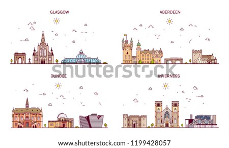 Detailed architecture of Glasgow, Aberdeen, Dundee, Inverness. Business cities in Scotland. Trendy vector illustration, line art style.Handdrawn illustration with main tourist attractions.