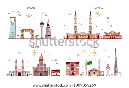 Detailed architecture of Riyadh, Jeddah, Medina, Makkah. Business cities in Saudi Arabia. Trendy vector illustration, line art style. Handdrawn illustration with main tourist attractions.