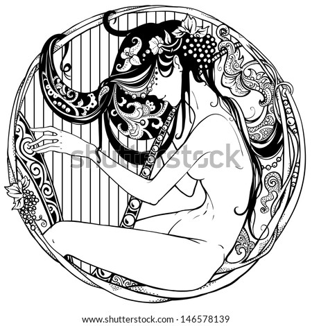 Detailed Art-Deco Decorative Vignette As Modern Satyr ...