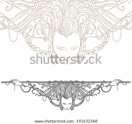 detailed art nouveau decorative