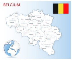 Detailed Belgium administrative map with country flag and location on a blue globe. Vector illustration