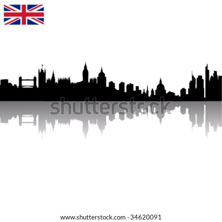 Detailed Black vector London silhouette skyline with union flag - stock vector