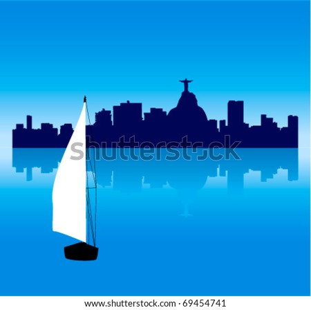 Detailed Black vector Rio de Janeiro silhouette skyline with Sailing ship