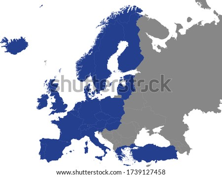 Detailed Blue Flat Political Map of Organisation for Economic Co-operation and Development (OECD) on Grey Background of European Continent