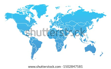 Detailed Blue Gradient World Map Separated Country Vector Design