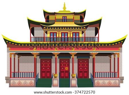 Detailed buddhist temple, monastery