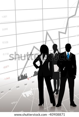 Detailed business silhouettes with chart