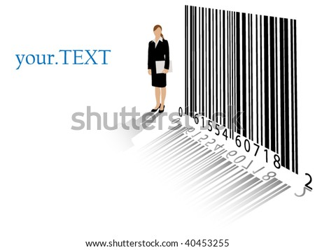 Detailed business woman with bar code and room for your text - layered, no meshes or masks