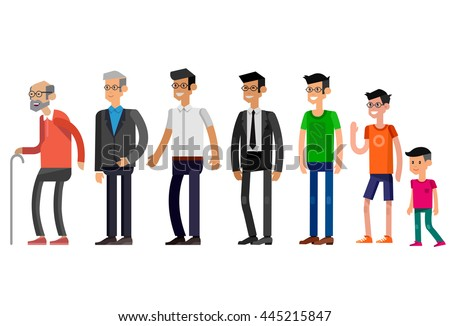 Detailed character man Generations . All age categories - infancy, childhood, adolescence, youth, maturity, old age. Stages of development isolated on white background