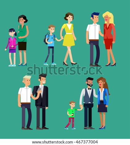 Detailed character people family, parents with kids, couple, family with children