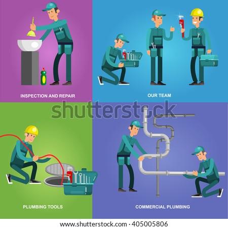 detailed character proffesional plumber men set , repair professional, fixing water pipes. Vector