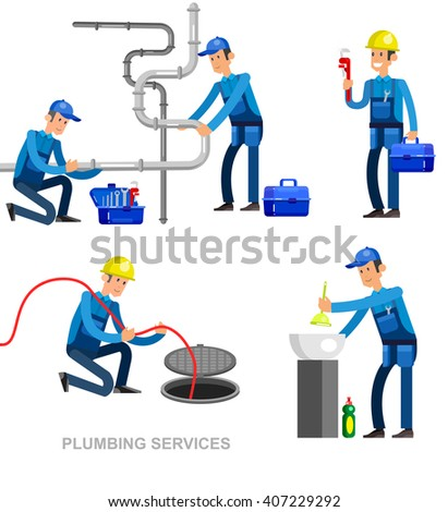 detailed character proffesional plumber men set , repair professional, fixing water pipes. Vector