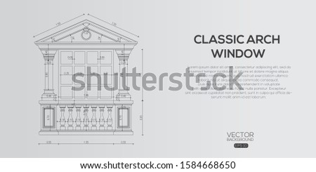 Detailed classic window  , Architectural background , architectural plan vector