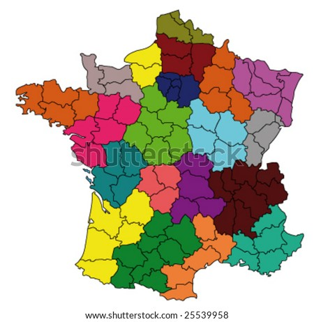 departments of france map. colored map of france with
