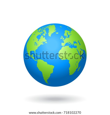Detailed colored world map, mapped on a globe, isolated on white background