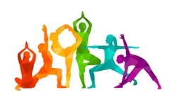 Detailed colorful silhouette yoga vector illustration. Fitness Concept. Gymnastics. Aerobics.