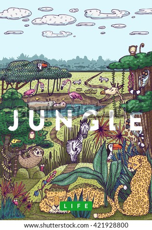 Detailed colorful vector illustration. Wild life in jungle with different animals, birds and plants