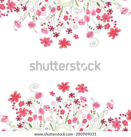 stock-vector-detailed-contour-square-frame-with-herbs-roses-and-wild-flowers-isolated-on-white-greeting-card