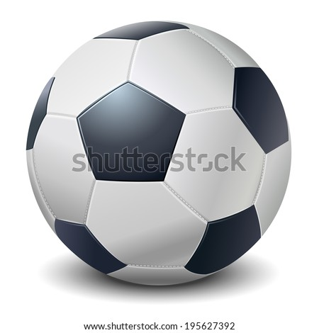 Detailed dark blue fringe football ball isolated on white background Vector illustration