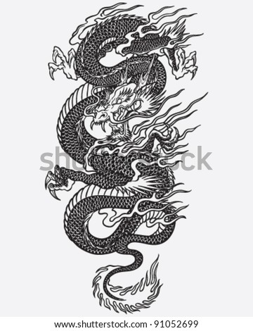 Detailed Dragon Tattoo Linework