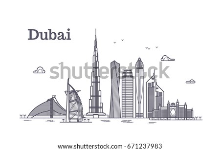 detailed dubai line vector