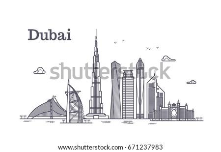Detailed dubai line vector cityscape with skyscrapers. Uae landmark skyline. Architecture dubai skyscraper in linear style illustration