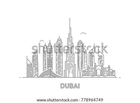 Detailed dubai line vector skyline. Uae landmark. Architecture dubai skyscraper in linear style illustration