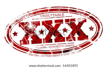 Detailed editable vector rubber stamp of three Xs with three grunge layers as separate objects