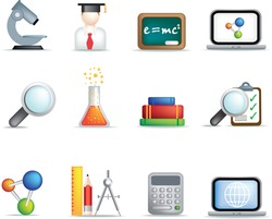 detailed education and science coloured icon set on white background