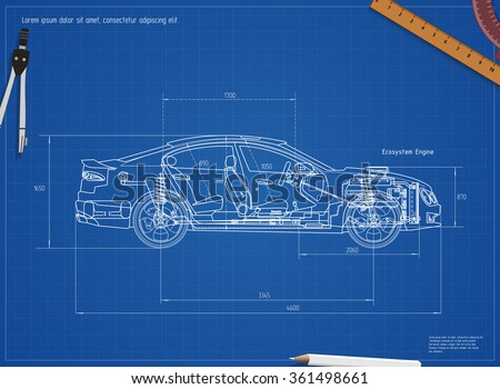 Detailed Engineering Blueprint of the car. Vector illustration