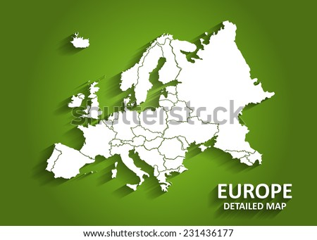 detailed europe map on green