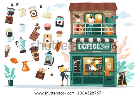 Detailed facade of the coffee house with visitors and Barista behind the bar. All objects are isolated they are easy to move.
