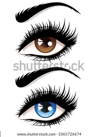 detailed female eyes with long