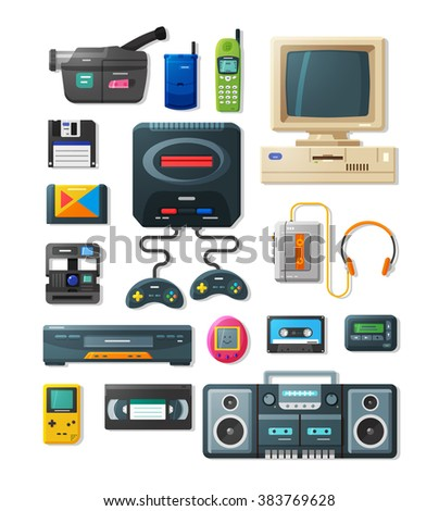 Detailed flat icons with gadgets of 90s. Retro icons with game console, gamepad, videocamera, pager, audio player and other electronics.