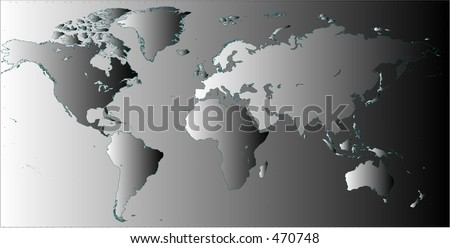 Detailed flat world map in vector, in black and white gradient