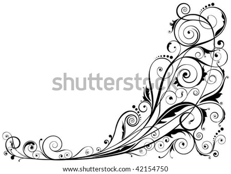 Detailed floral design ornaments, black colored.