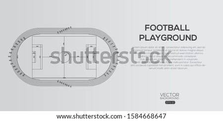 Detailed Football playground  , Architectural background , architectural plan vector