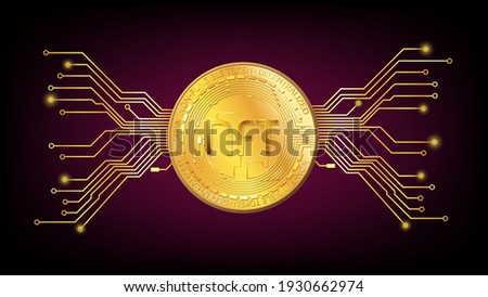 Detailed gold coin NFT non fungible token with pcb tracks on dark red background. Pay for unique collectibles in games or art. Vector illustration.